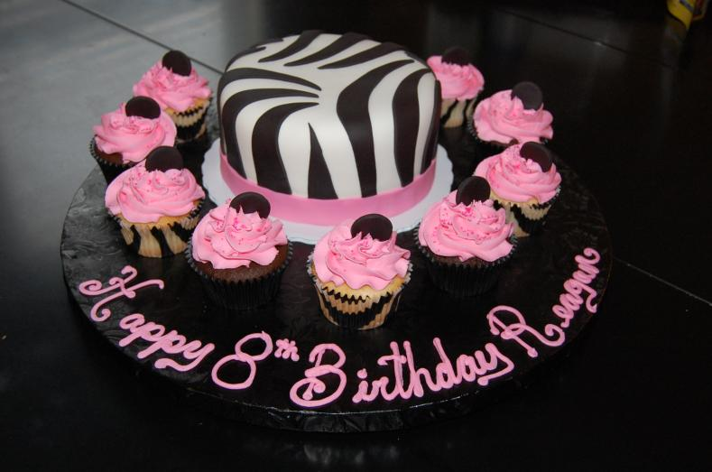 Zebra stripe cake and cupcakes