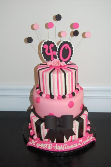 40th Birthday Cake in Pink and Black